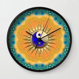 Sunshine YinYang Teal Orange Wall Clock