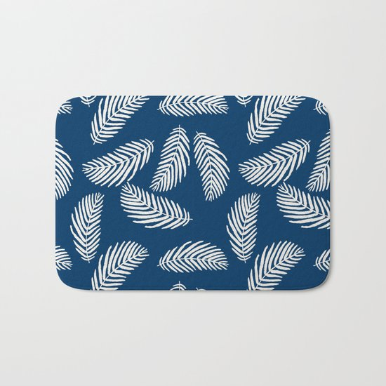 Palm trees navy tropical minimal ocean seaside socal beach life pattern Bath Mat