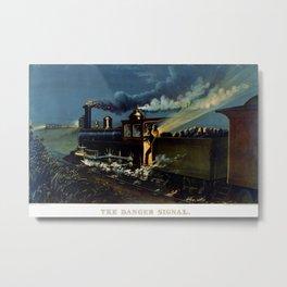 The Danger Signal: Train Scene, Currier & Ives Metal Print