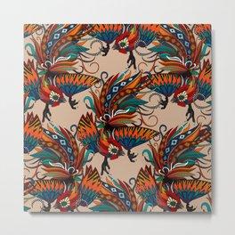 rooster ink beige Metal Print