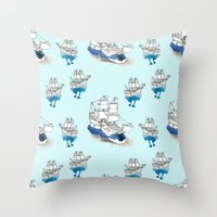 ships Throw Pillows featuring Ships Pattern by Brooke Weeber