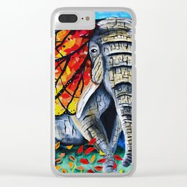 elephant painting, butterfly, monarch, fall leaves, elephant artwork, wall art, autumn Clear iPhone Case