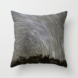 Star Trails Above Trees Throw Pillow
