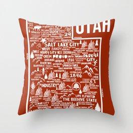 Utah Map Throw Pillow