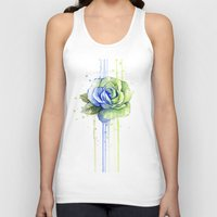seahawks Tank Tops featuring Seattle 12th Man Seahawks Rose Watercolor Painting Art by Olechka