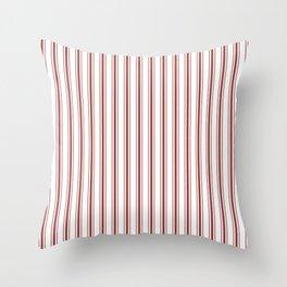 Vintage New England Shaker Barn Red Milk Paint Mattress Ticking Vertical Wide Striped Throw Pillow