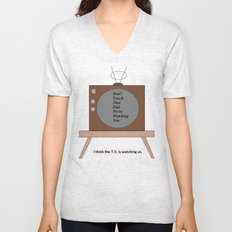 The T.V. is watching us Unisex V-Neck