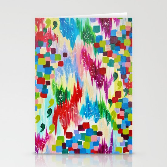 'TIS THE SEASON - Cheerful Christmas Seasonal Holidays Abstract Acrylic Painting Chevron Snow  Stationery Cards