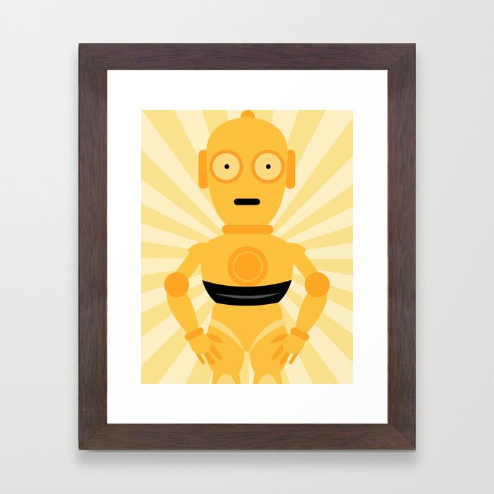 C3po Star Wars Wall Art Print Mellow Yellow Framed Art Print By