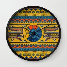 Hunab Ku Mayan symbol Leather texture Wall Clock