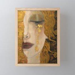 Golden Tears (Freya's Heartache) portrait painting by Gustav Klimt Framed Mini Art Print
