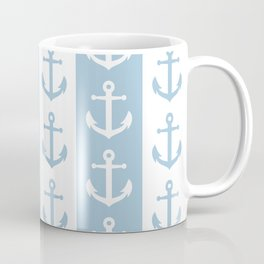 Nautical Sailor Stripes with Anchor Pattern Pale Blue 241 Coffee Mug