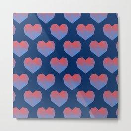 Polygon Heart Seamless Pattern Metal Print