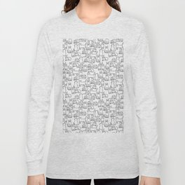 Funny sketchy white kitty cats Long Sleeve T-shirt
