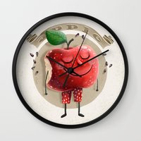 apple Wall Clocks featuring Apple by Lime