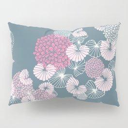 Floral Seamless Pattern on Blue Pillow Sham