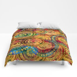 Colorful Circular Tribal  pattern with gold Comforters