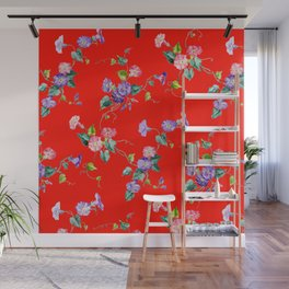 morning glories on red Wall Mural