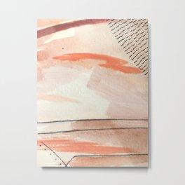 Aly [2] : minimal | pinks | white | black | mixed media | ink | abstract | watercolor | wall art Metal Print