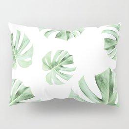 Tropical green leaves on white Pillow Sham