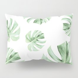 Tropical green leaves on white Pillow Sham