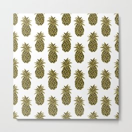 Gold Pineapples Metal Print