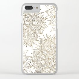 Elegant faux gold white spiritual floral mandala Clear iPhone Case