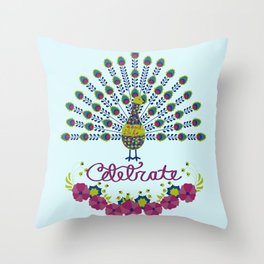 Celebrate life - peacock Throw Pillow