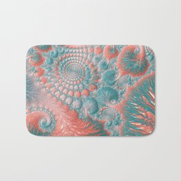 Abstract Living Coral Reef Nautilus Pastel Teal Blue Orange Spiral Swirl Pattern Fractal Fine Art Bath Mat