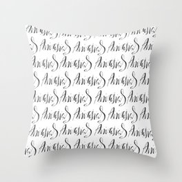 Calligraphic pattern Throw Pillow