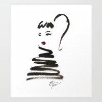 Stylish Girl Ink Croquis 2 Art Print