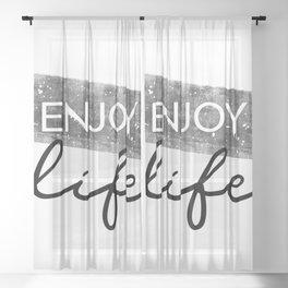 Text Art ENJOY LIFE Sheer Curtain