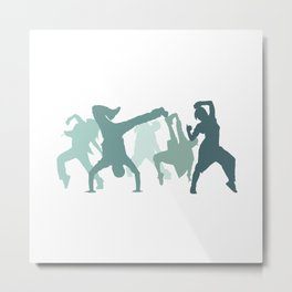 Hip Hop Dancers Illustration  Metal Print