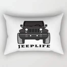 'JEEPLIFE' Black and white Rectangular Pillow