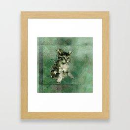 Cute green cat Watercolor Painting Illustration Framed Art Print