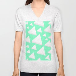 White Triangles Unisex V-Neck