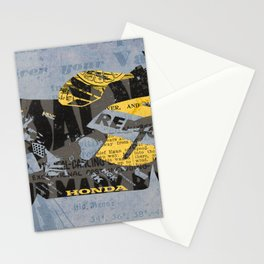 Honda Repsol newspaper collage, original art for men, gift for him, blue, yellow Stationery Cards