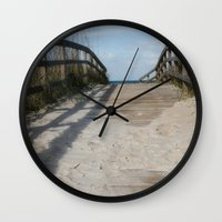 boardwalk empire Wall Clocks featuring Boardwalk by Ink and Paint Studio