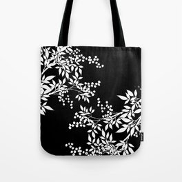 White and Black Toile Victorian Leaf Branch Tote Bag