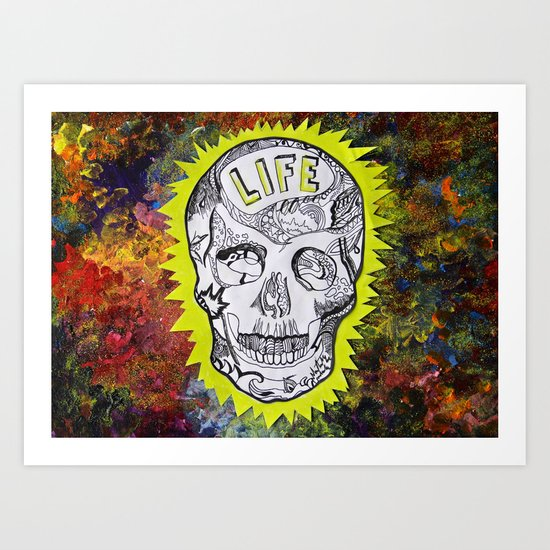 NEON SKULL Art Print
