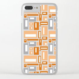 Simple Geometric Pattern in Peach and Gray Clear iPhone Case