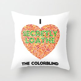 I Heart the Colorblind (US spelling variation) Throw Pillow