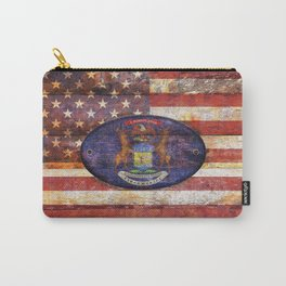 Michigan and USA flag on old wooden planks. Carry-All Pouch