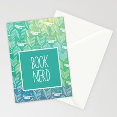 Book Nerd Green Watercolor Stationery Cards