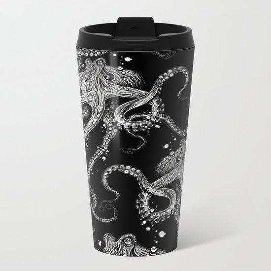Octopus (black) Metal Travel Mug