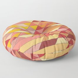 Triangle Pattern no.4 Warm Colors Red and Yellow Floor Pillow