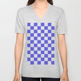 Checkered (Blue & White Pattern) Unisex V-Neck