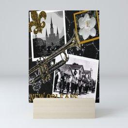 Classic New Orleans Black & white vintage collage Mini Art Print