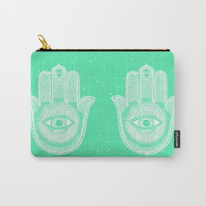 Hamsa lucky green Carry-All Pouch