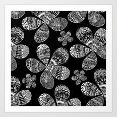 Storied Flowers (black & white) Art Print